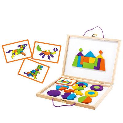 智库 磁力片积木拼图百变魔法箱儿童玩具3-6周岁男女孩早教益智
