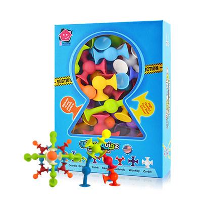 智库 儿童早教益智积木玩具拼装 3-6周岁男女孩创意礼物硅胶吸吸乐