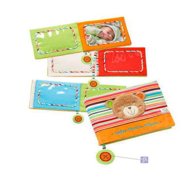 德国 BabyFehn费恩婴儿宝宝照片早卡通教布书相册安抚玩具可咬耐撕 小熊布书