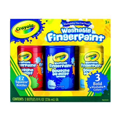 美国 Crayola/绘儿乐 3色可水洗手指画顏料(经典色)