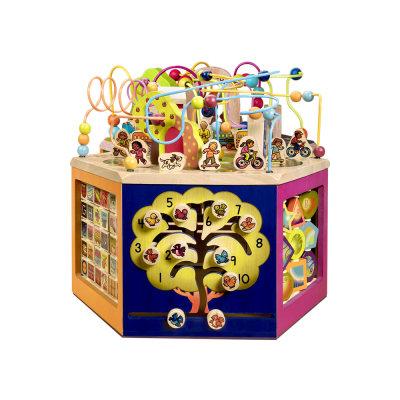 北美 B.Toys/比乐 青年大学活动中心木立方多功能百宝箱绕珠玩具
