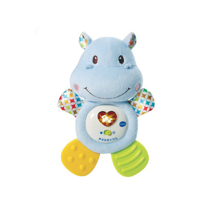 VTech伟易达电子教育玩具声光安抚小河马毛绒音乐玩具宝宝牙胶响纸婴儿车床挂0个月+