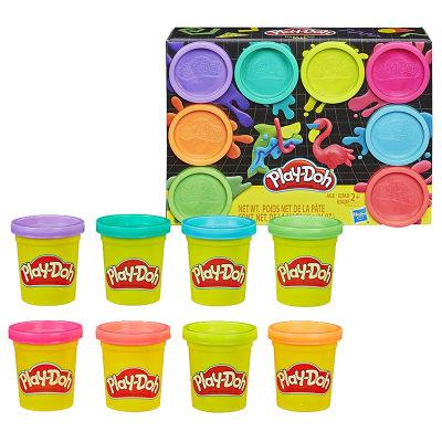 美国 PlayDoh/培乐多 彩泥彩虹8色新版儿童橡皮泥DIY创意手工制作玩具