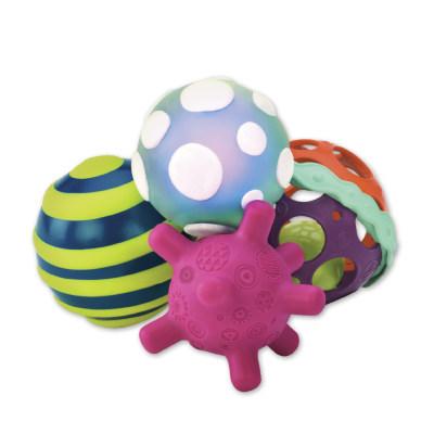北美 B.Toys/比乐 波丽触觉球婴幼儿手抓球 比乐宝宝充气球软胶触感小玩具套装