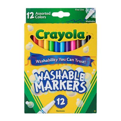 美国 Crayola/绘儿乐 12色 细杆/粗杆 可水洗水彩笔 儿童画笔